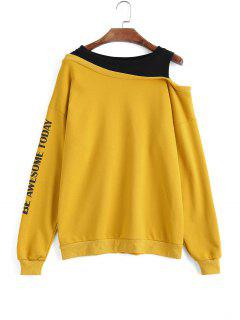 Two Tone Letter Cold Shoulder Sweatshirt - Yellow L