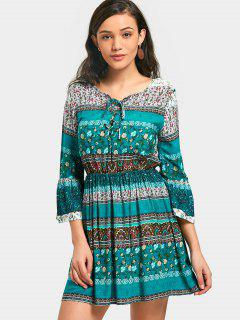 Lace-up Printed Dress - M