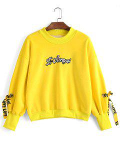 Bow Tied Velvet Letter Sweatshirt - Yellow S