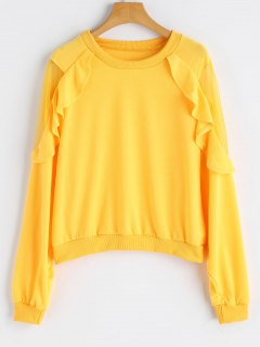 Frilled Mesh Panel Crew Neck Sweatshirt - Gelb S