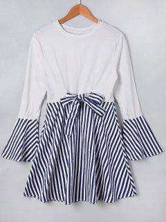 Flare Sleeve Stripe Panel Dress - Blue Xl