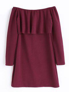 Ruffle Long Sleeve Off The Shoulder Dress - Wine Red S