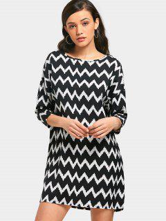 Zigzag Tunic Dress - White And Black Xl