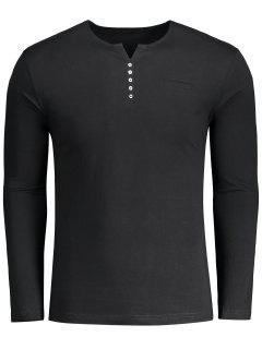 Button Embellished Polo Tee - Black Xl