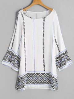 Long Sleeve Printed Tunic Dress - White M