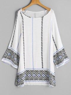 Robe Tunique Imprimée à Manches Longues - Blanc M