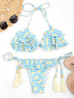 Polka Punkt Bralette Rüschen String Bikini - S