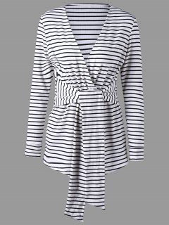 Long Sleeve Striped Romper - White And Black Xl