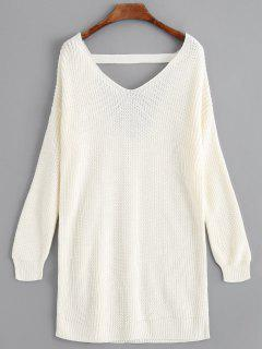 V Neck Drop Shoulder Longline Sweater - Off-white