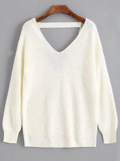 V Shaped Back V Neck Sweater - Off-white