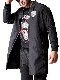 Zippered Graphic Longline Coat - Black 2xl