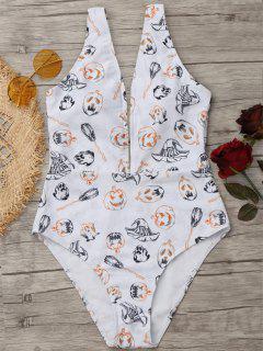 Plunging Neck Halloween Pumpkin Swimwear - White M