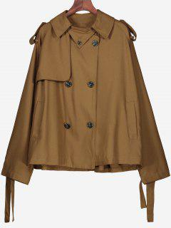 Button Up Plain Coat With Pockets - Brown S