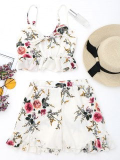 Floral Bralette Top And High Waisted Ruffles Shorts - White S