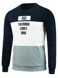 Crew Neck Color Block Graphic Embroidered Sweatshirt - Cadetblue L