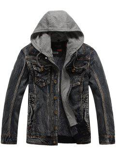 Faux Fur Lining Zip Hooded Denim Jacket - Gray 2xl