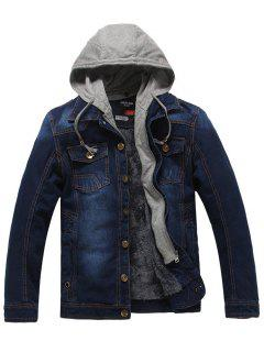 Faux Fur Lining Zip Hooded Denim Jacket - Cerulean 3xl