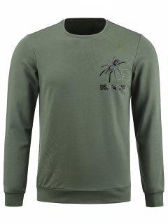 Besatzung Spinne Grafik Sequinned Pullover Sweatshirt - Bundeswehrgrün 3xl