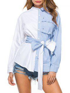 Striped High Low Bowknot Shirt - Blue 2xl