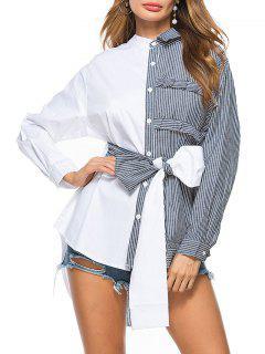 Striped High Low Bowknot Shirt - Black Xl