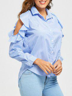 High Low Striped Ruffle Cold Shoulder Shirt - Light Blue M