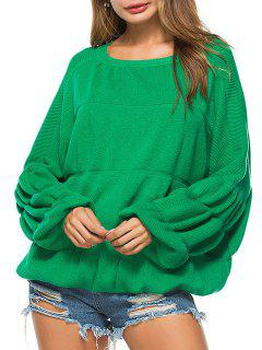 Puff Sleeve Crew Neck Sweater - Green