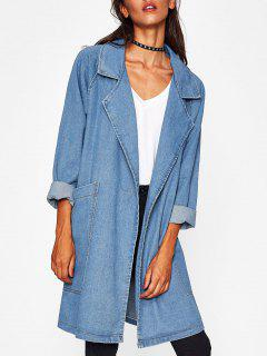 Raglan Sleeve Pockets Long Denim Jacket - Light Blue