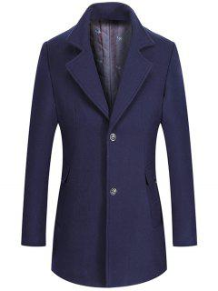 Lapel Collar Single Breasted Wool Mix Coat - Purplish Blue 3xl