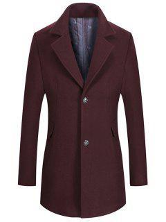 Manteau à Col Tailleur En Laine Mélangée à Boutonnage Simple - Rouge Vineux  L