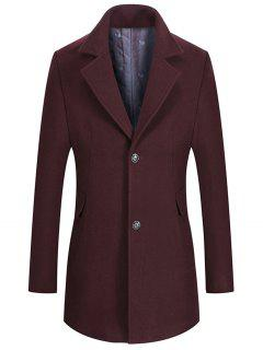 Lapel Collar Single Breasted Wool Mix Coat - Wine Red M