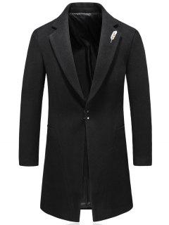Hook Button Feather Brooch Wool Blend Coat - Black 4xl