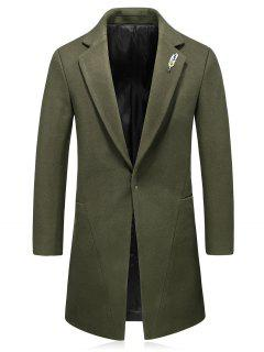 Hook Button Feather Brooch Wool Blend Coat - Green Xl