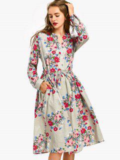 Drawstring Waist Long Sleeve Flower Dress - Sage Green L