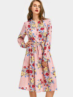 Drawstring Waist Long Sleeve Flower Dress - Pink M