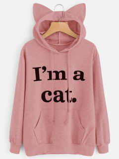 Front Pocket Letter Graphic Cat Hoodie - Pink M