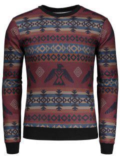Geometric Pattern Long Sleeve T-shirt - M