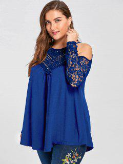 Plus Size Lace Trim Cold Shoulder Top - Blue 5xl
