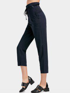 High Waist Drawstring Capri Pants - Purplish Blue L