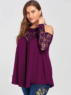 Plus Size Lace Trim Cold Shoulder Top - Purple 5xl