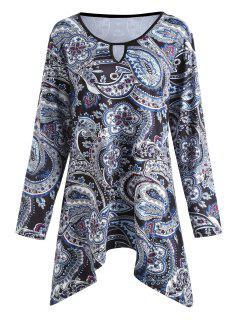 Plus Size Paisley Printed Asymmetric Swing T-shirt - Floral Xl