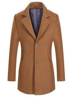 Lapel Collar Single Breasted Wool Mix Coat - Camel 3xl