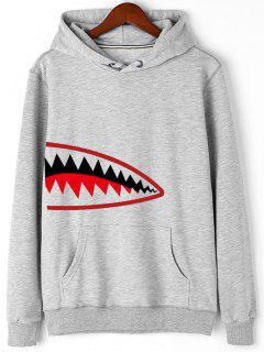 Cartoon Print Kangaroo Pocket Fleece Hoodie - Gray L