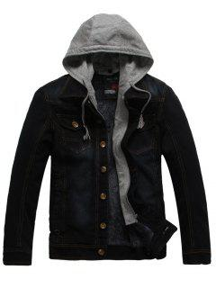 Faux Fur Lining Zip Hooded Denim Jacket - Black 2xl