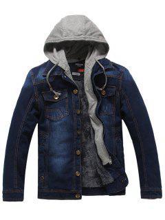 Faux Fur Lining Zip Hooded Denim Jacket - Cerulean 3xl