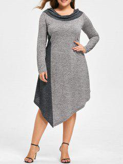 Plus Size Marled Asymmetrical Jersey Dress - Black And Grey 5xl