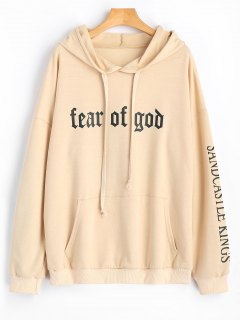 Drawstring Letter Logo Oversized Hoodie - Apricot S