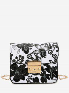 Floral Chain Mini Crossbody Bag - Black