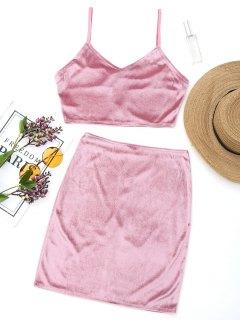 Velvet Bralette Top And Mini Side Zip Skirt - Pinkish Purple M
