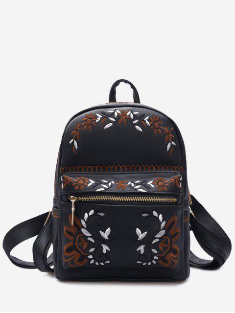 women's Faux Leather Floral Embroidery Backpack - BLACK  Mobile
