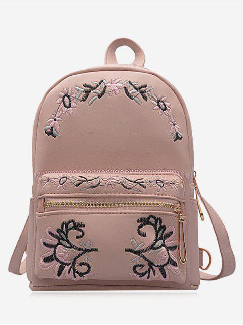 lady Faux Leather Floral Embroidery Backpack - PINK  Mobile
